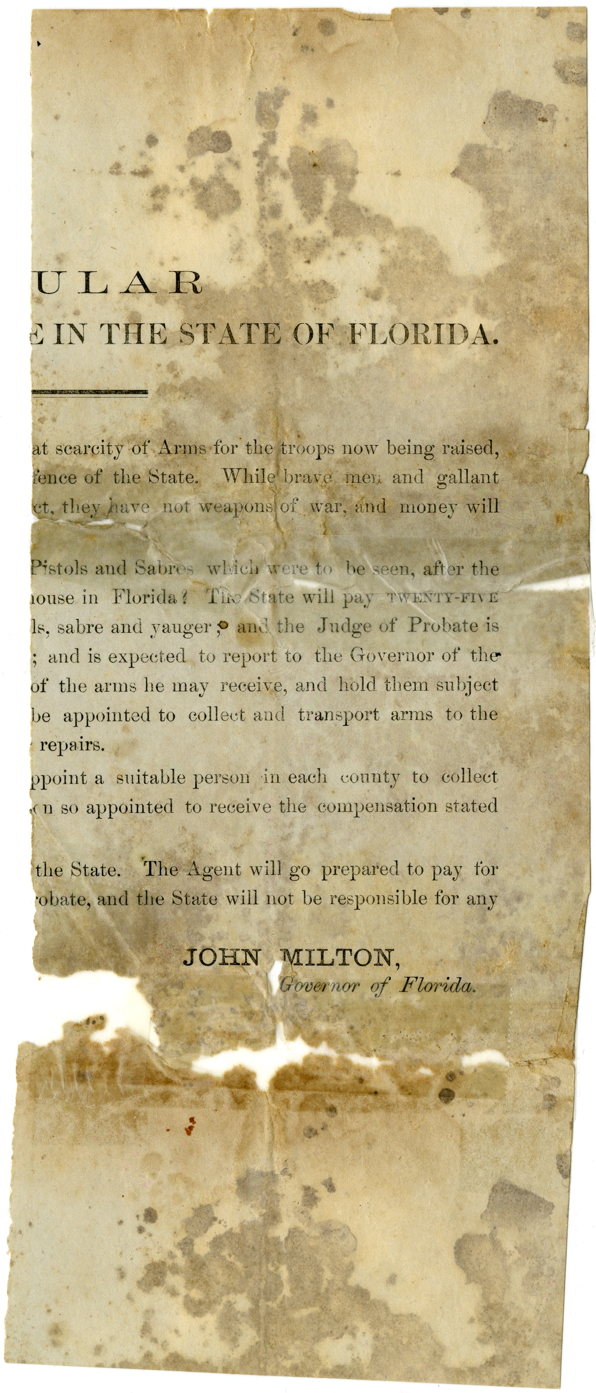 Scarcity of arms in Florida and reimbursement to troops.