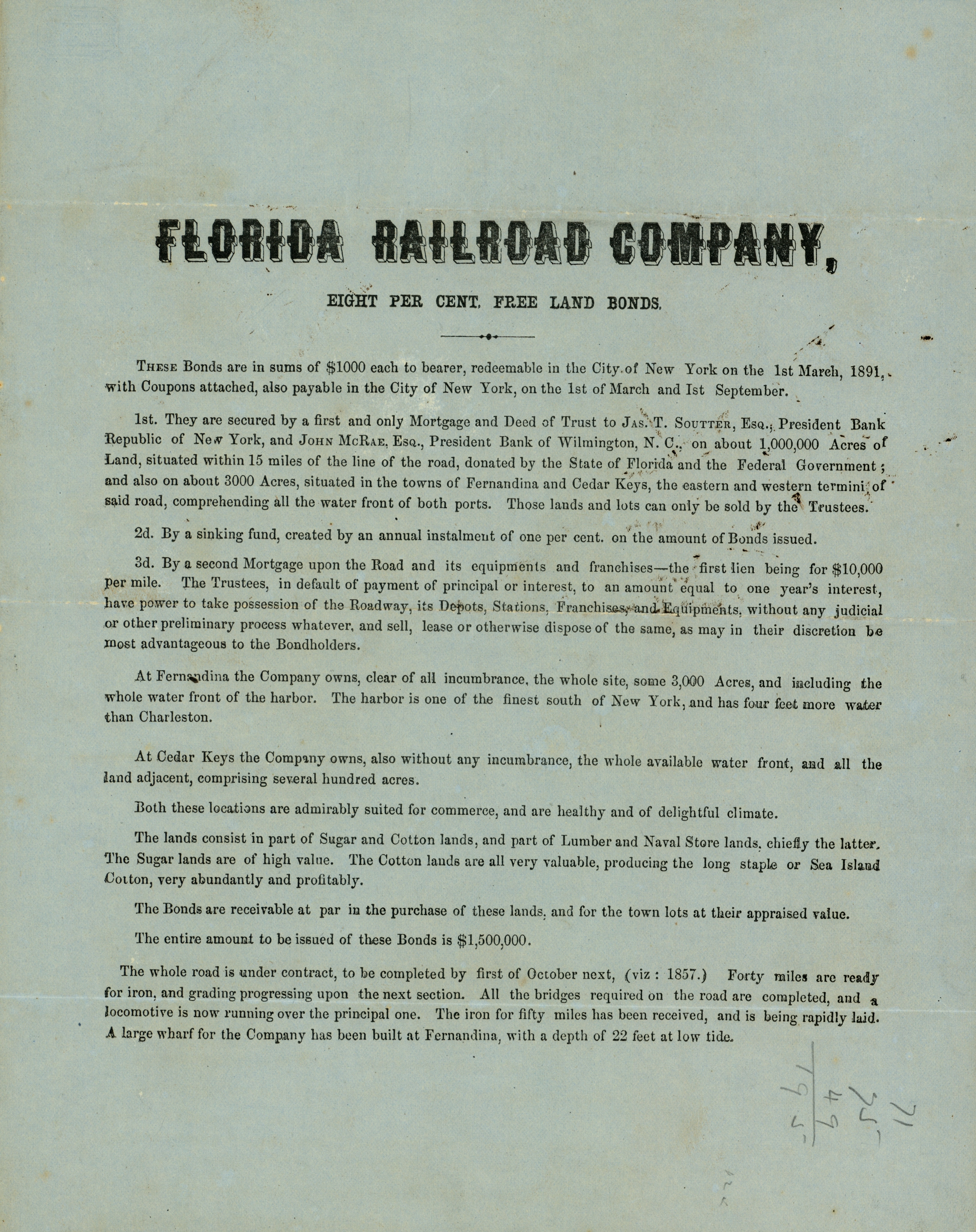 Florida Railroad Company, eight per cent free land bonds.