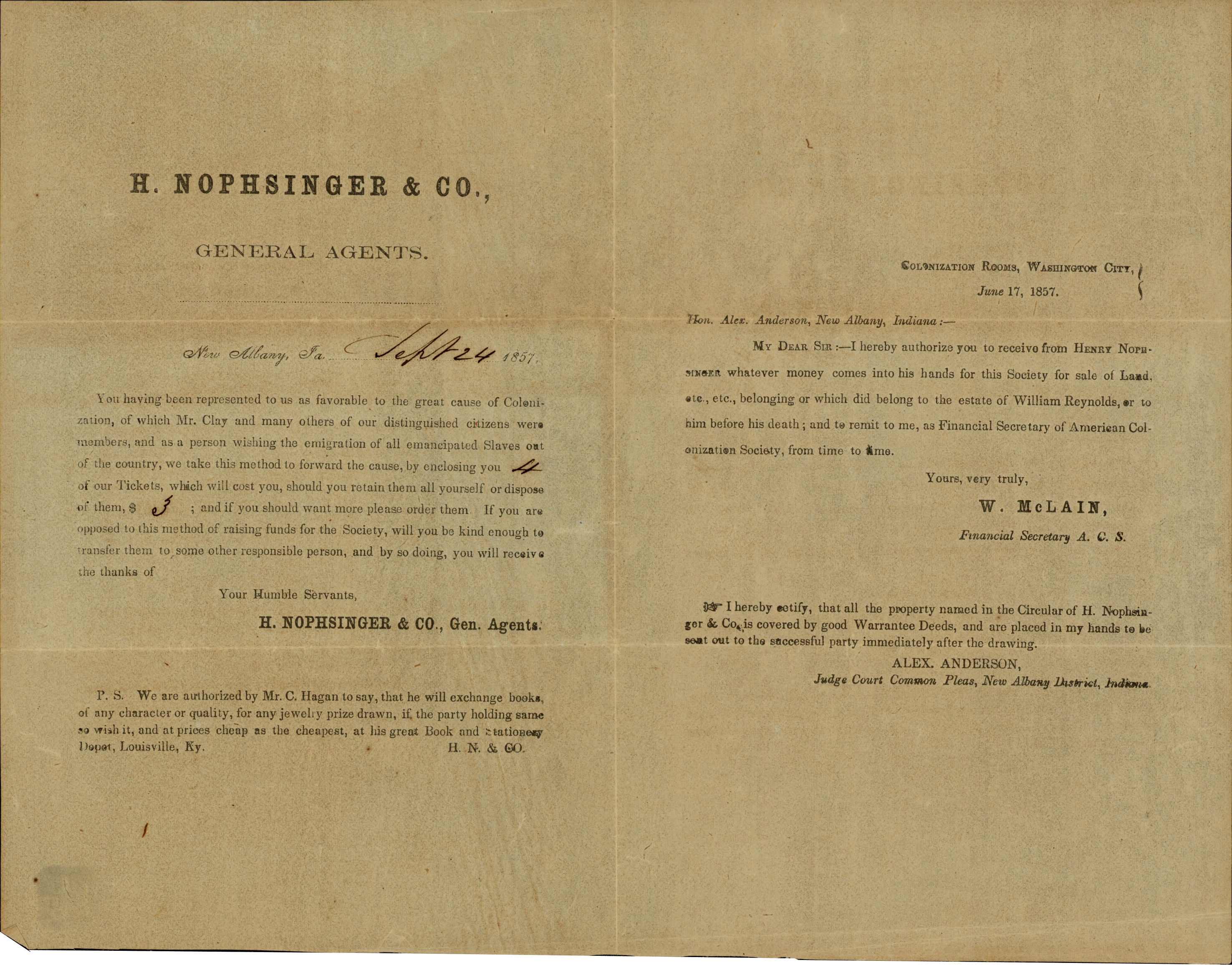 H. Nophsinger &amp; Co., (General Agents) papers.