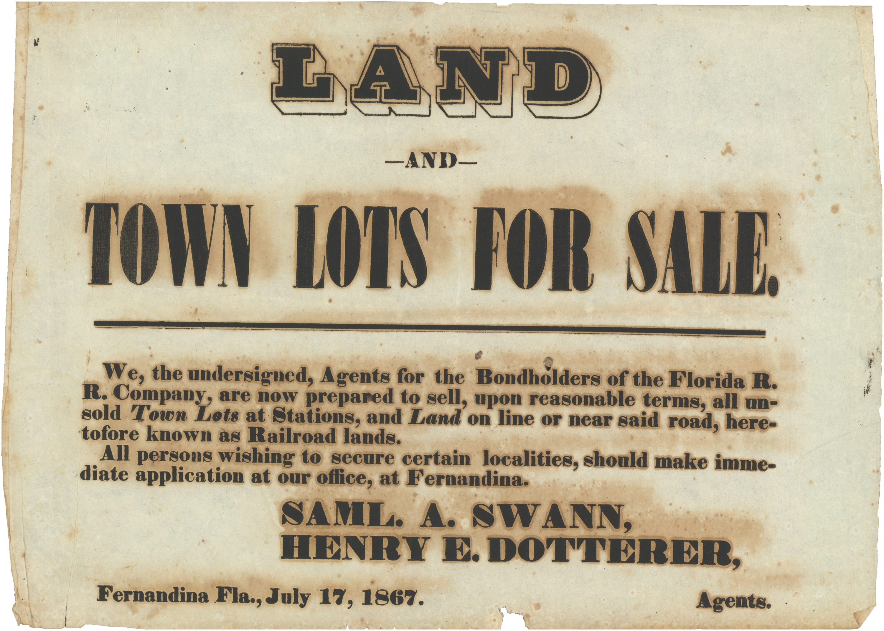 Land and town lots for sale.