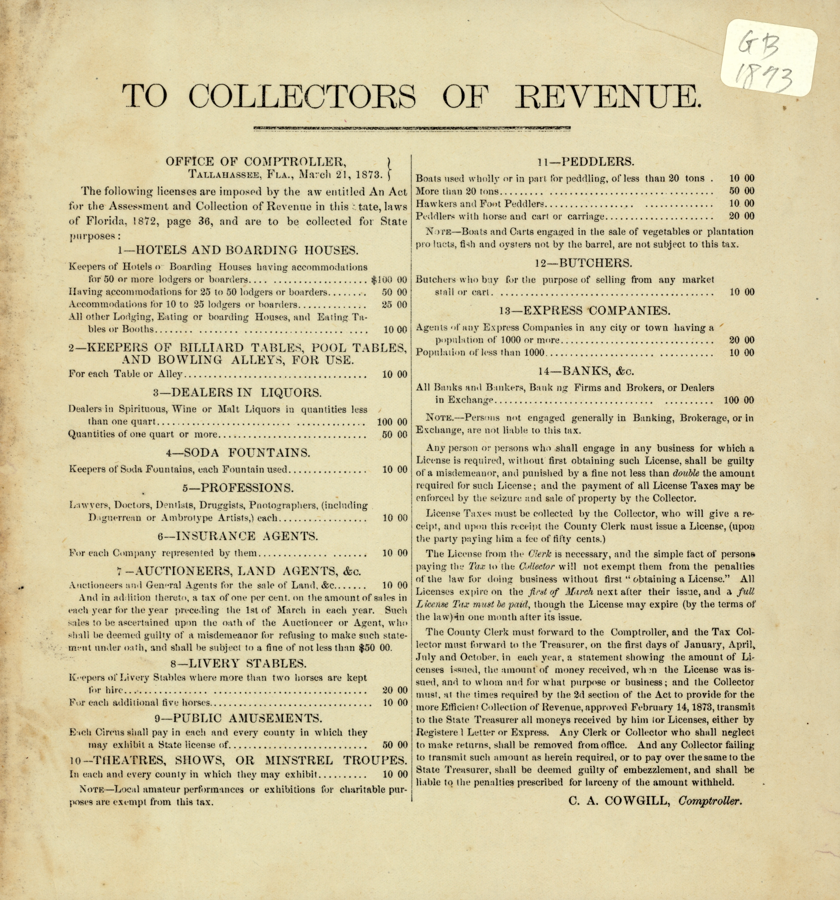 To the collectors of revenue. Office of Comptroller, Tallahassee, Fla., March 21, 1873.