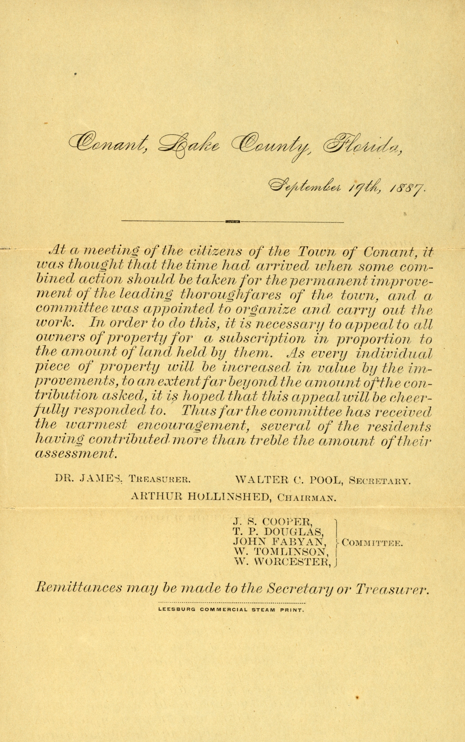 Circular letter to citizens of the town of Conant, Florida,1887.