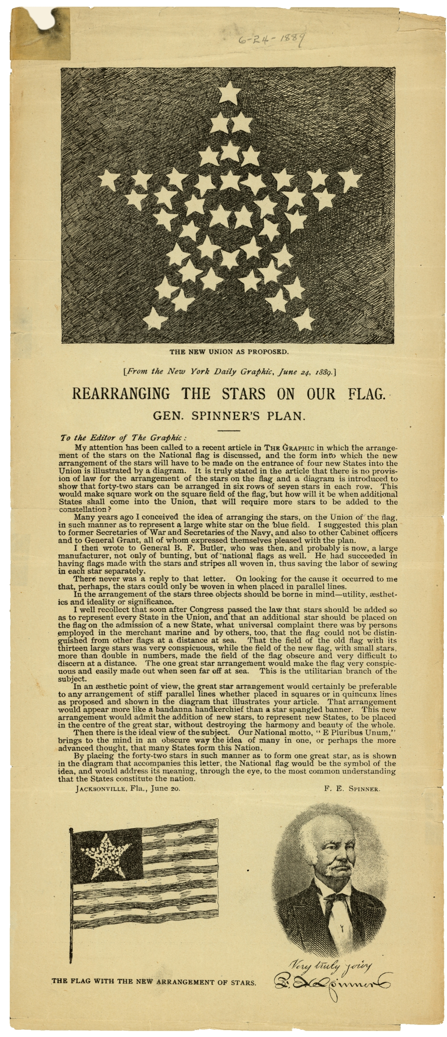 Rearranging the stars on our flag, Gen. Spinner&#039;s plan.