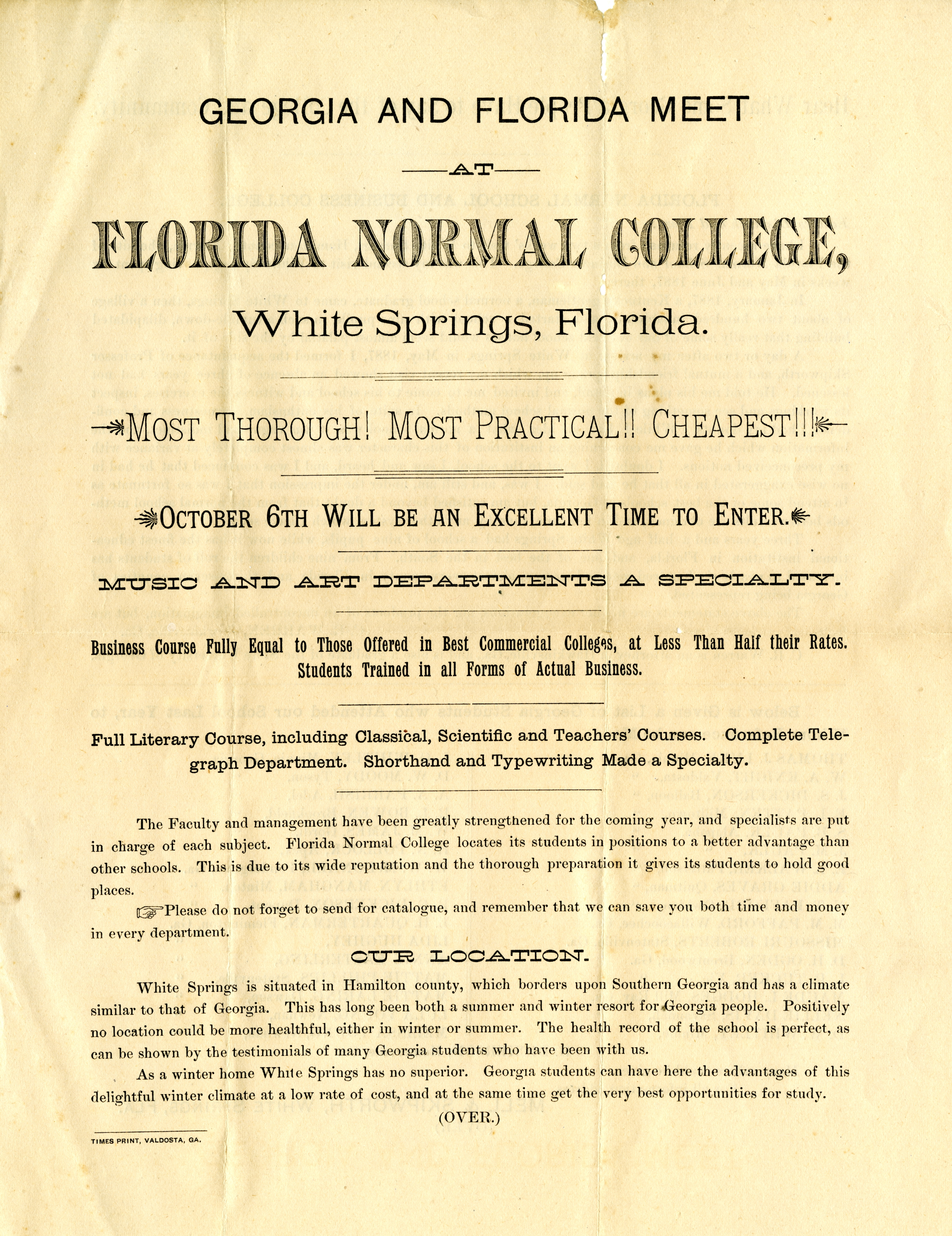 Georgia and Florida meet at Florida Normal College, White Springs, Florida.