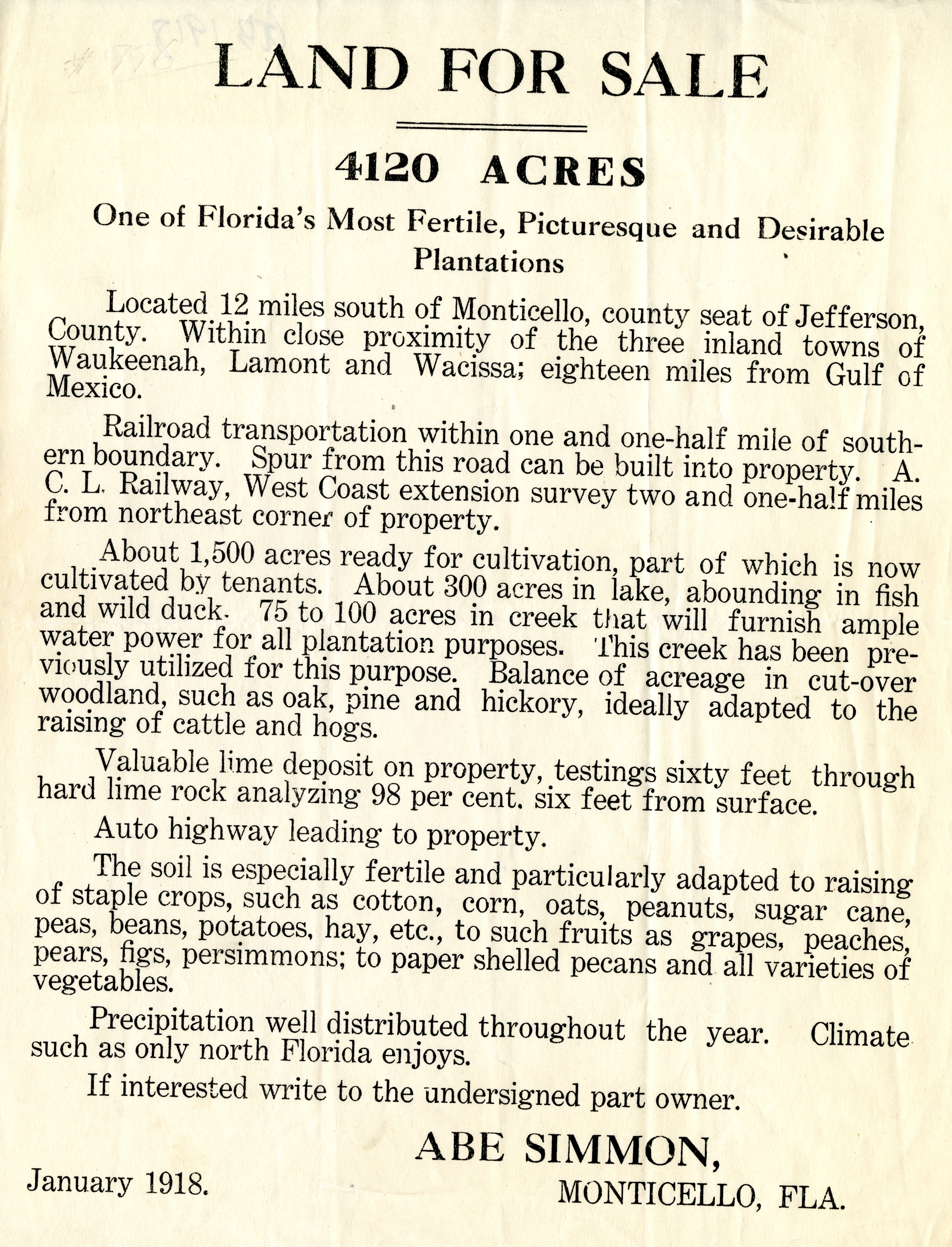 Land for sale, 4120 acres. One of Florida&#039;s most fertile, picturesque and desirable plantations.