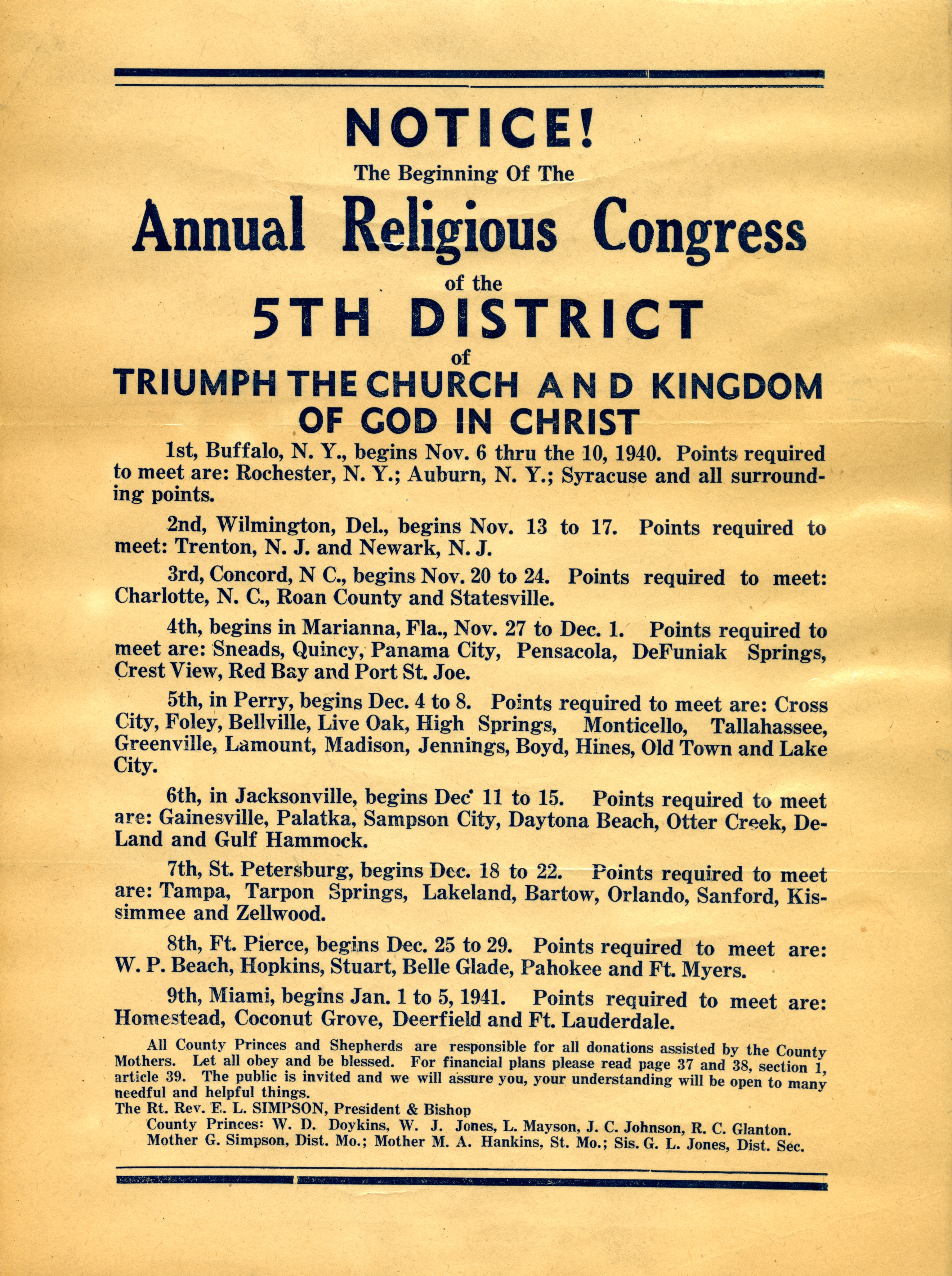 Notice, the beginning of the annual religious congress of the 5th District of Triumph the Church and Kingdom of God in Christ.