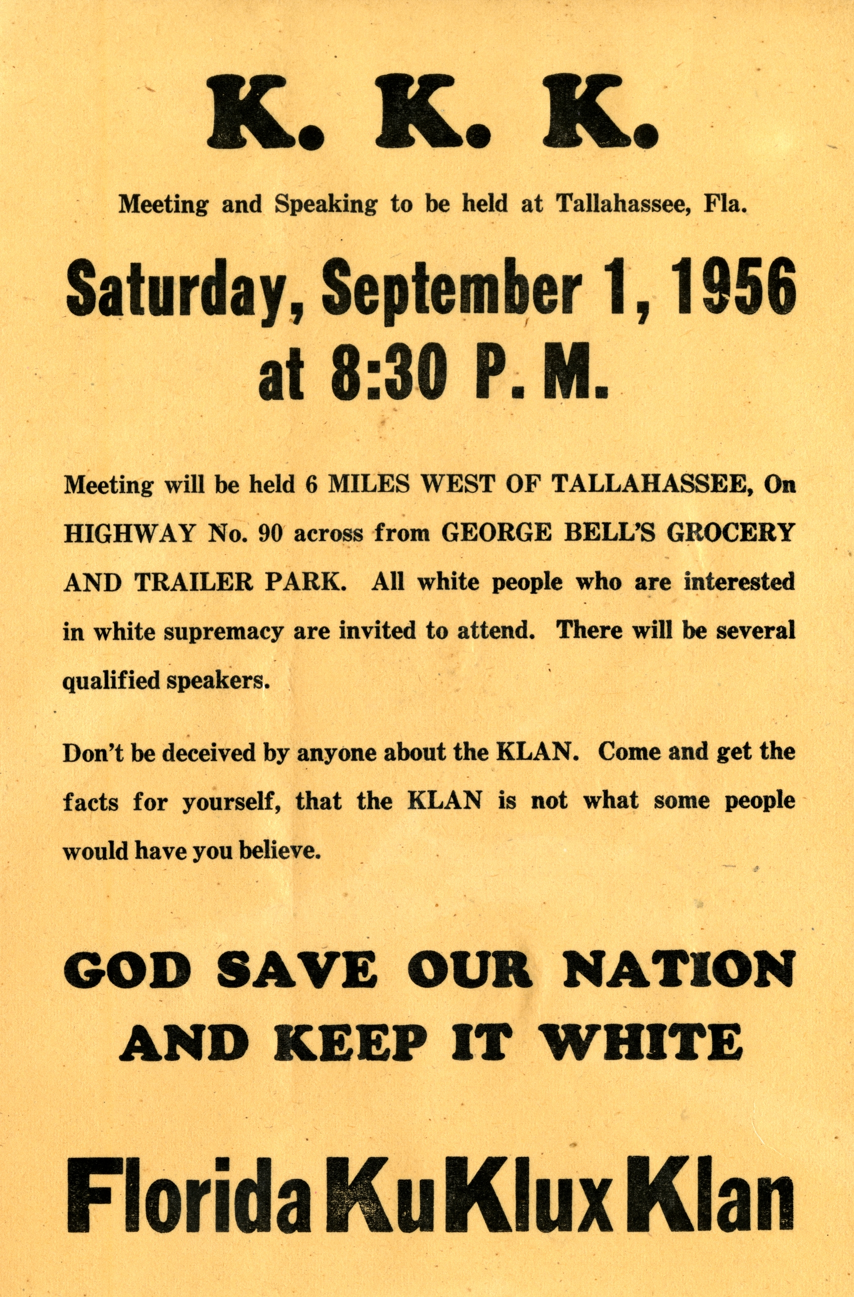 K.K.K. meeting and speaking to be held at Tallahassee, Fla.