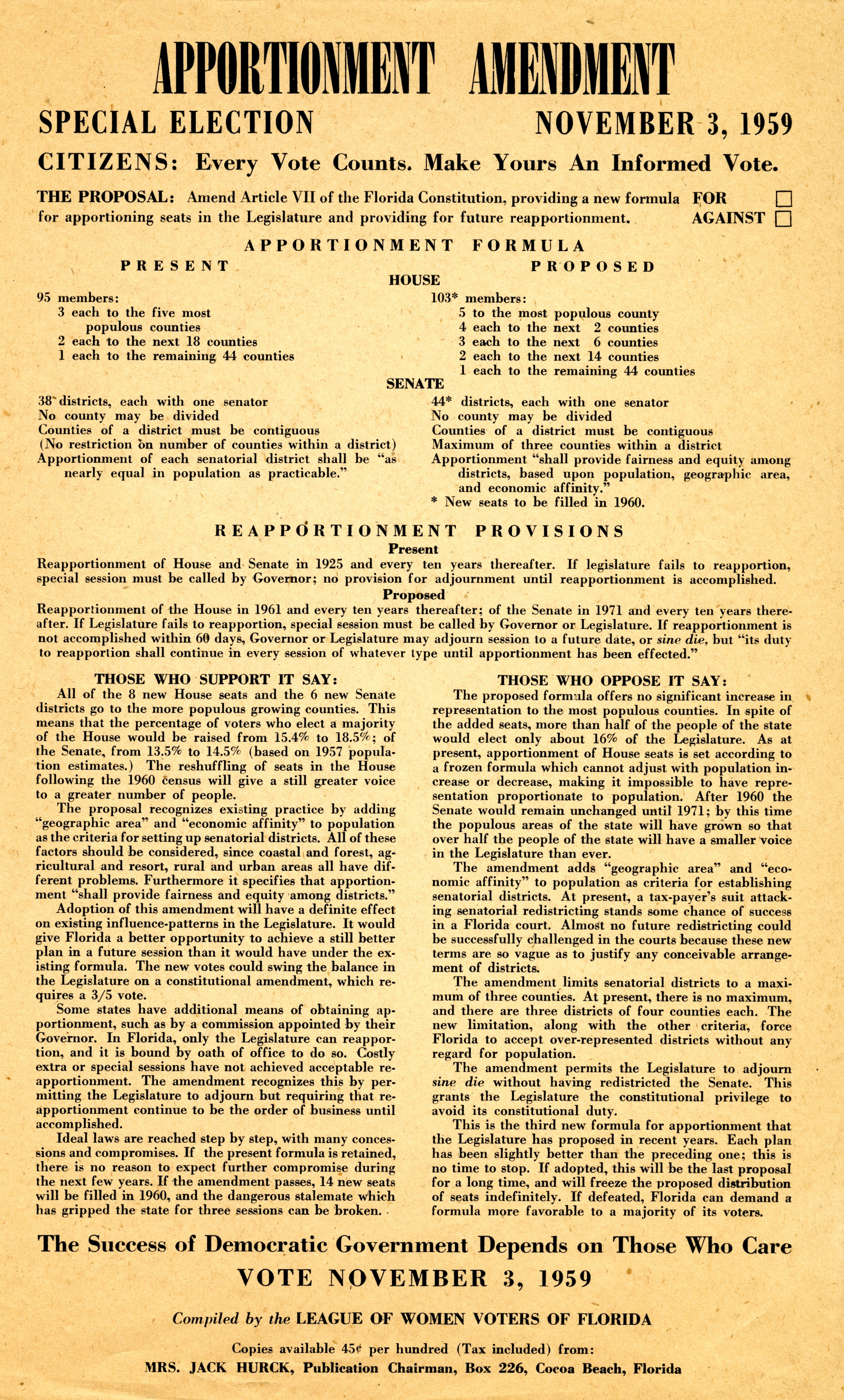 Apportionment amendment, special election November 3, 1959.