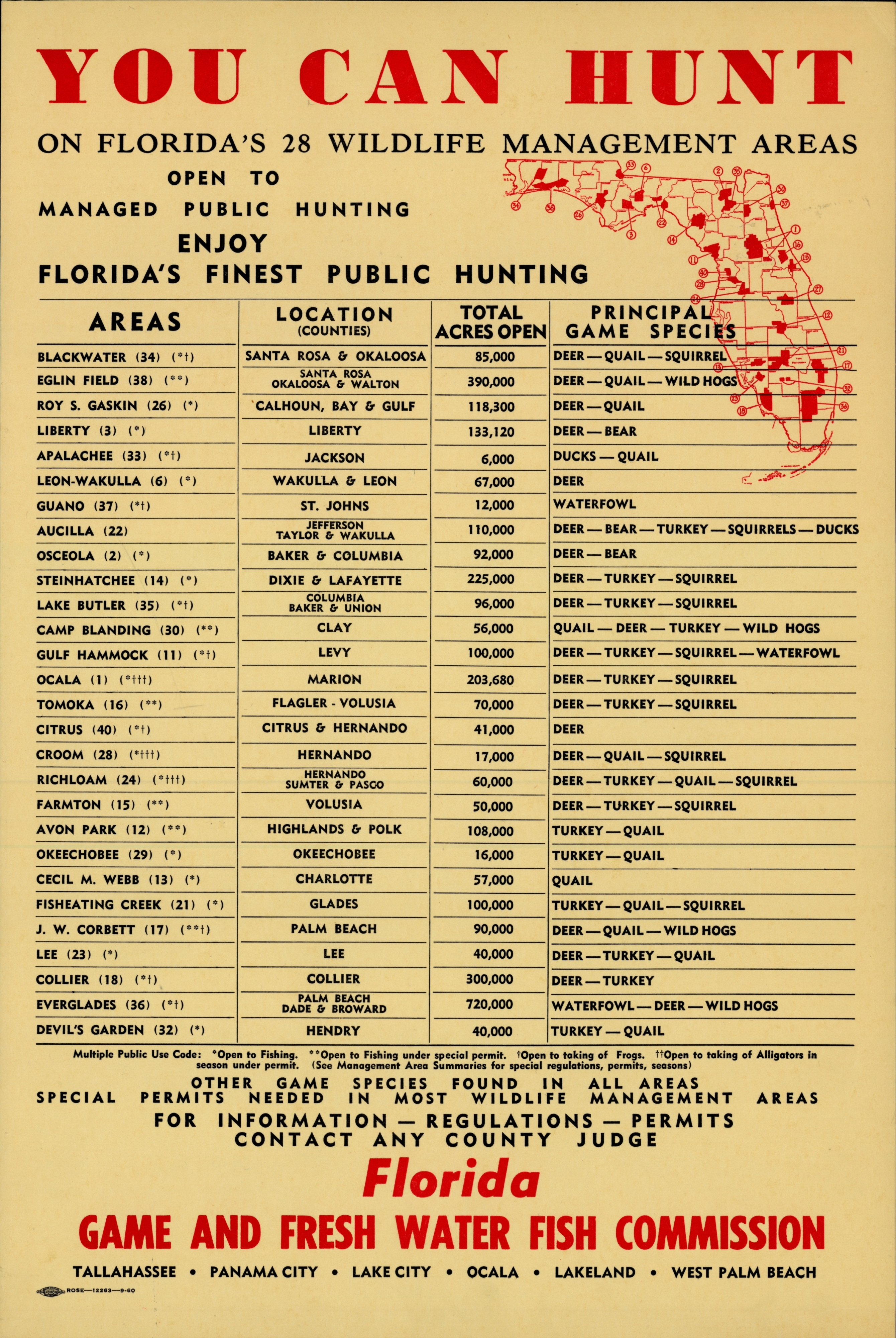 You can hunt on Florida's 28 wildlife management areas.