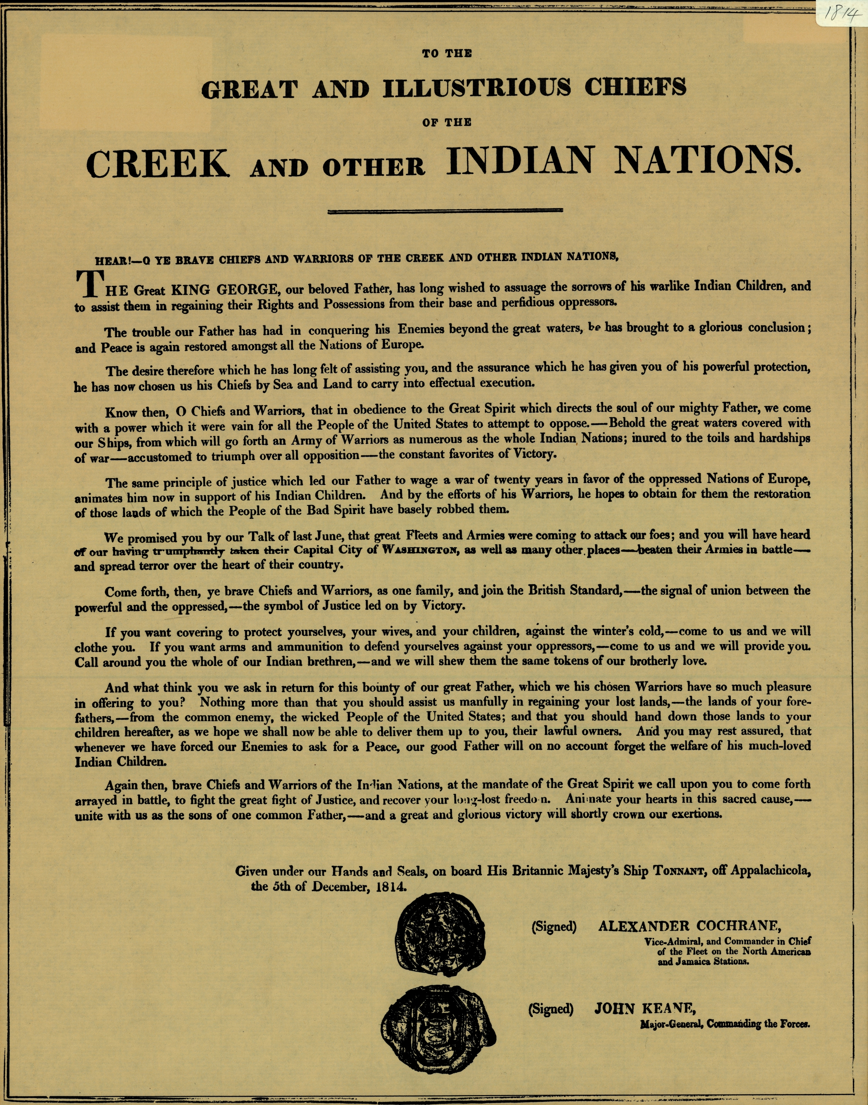 To the great and illustrious chiefs of the Creek and other Indian nations,1814, a facsimile.