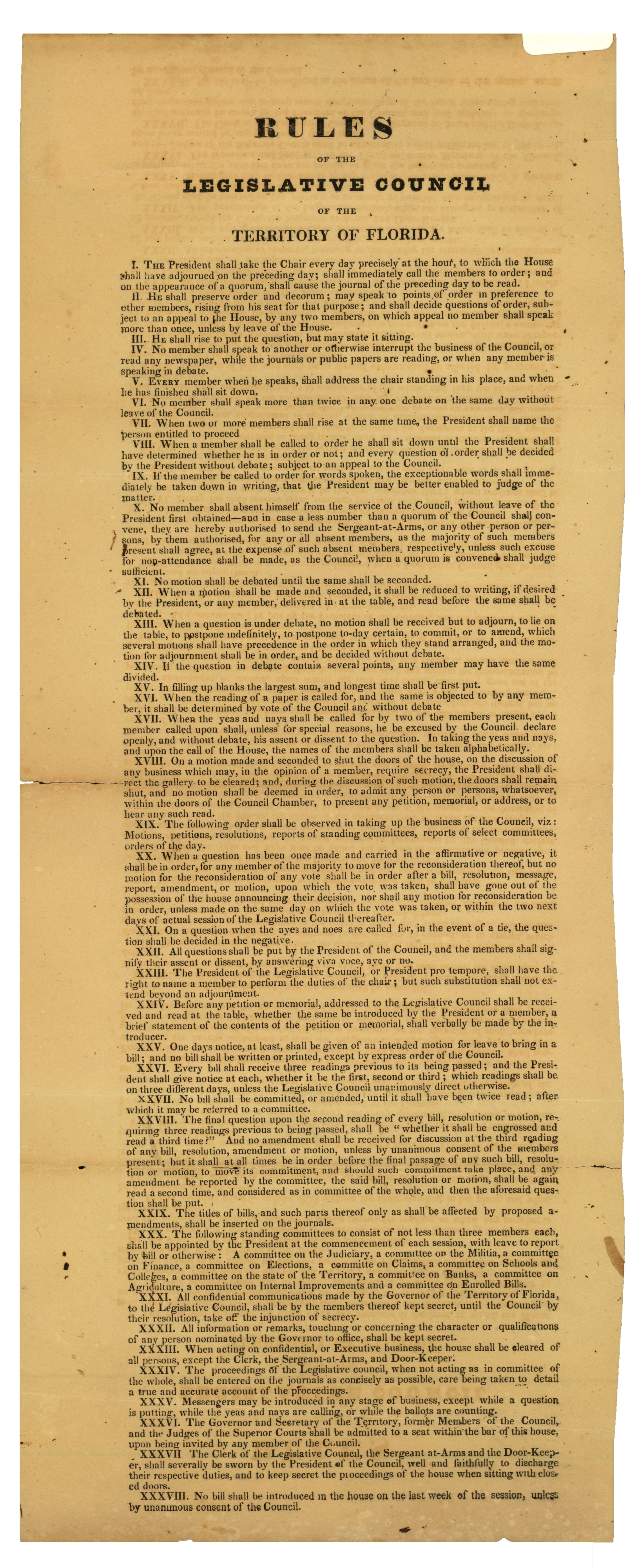 Rules of the Legislative Council of the Territory of Florida.