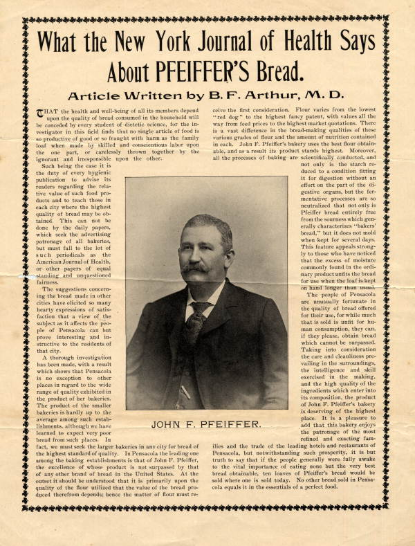What the New York Journal of Health says about Pheiffer's bread.