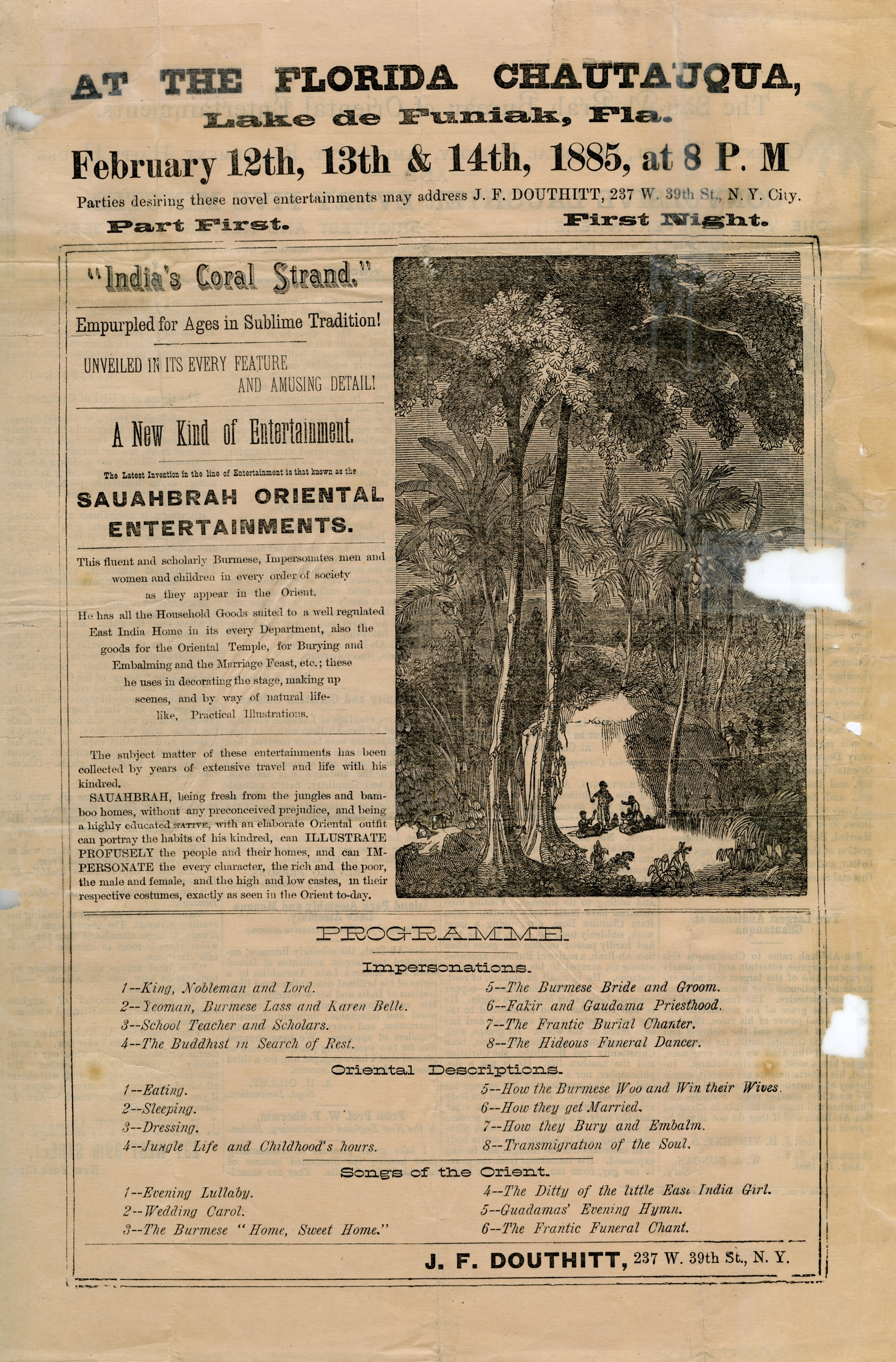 A handbill describing the program for a chautauqua event at DeFuniak Springs (1885).