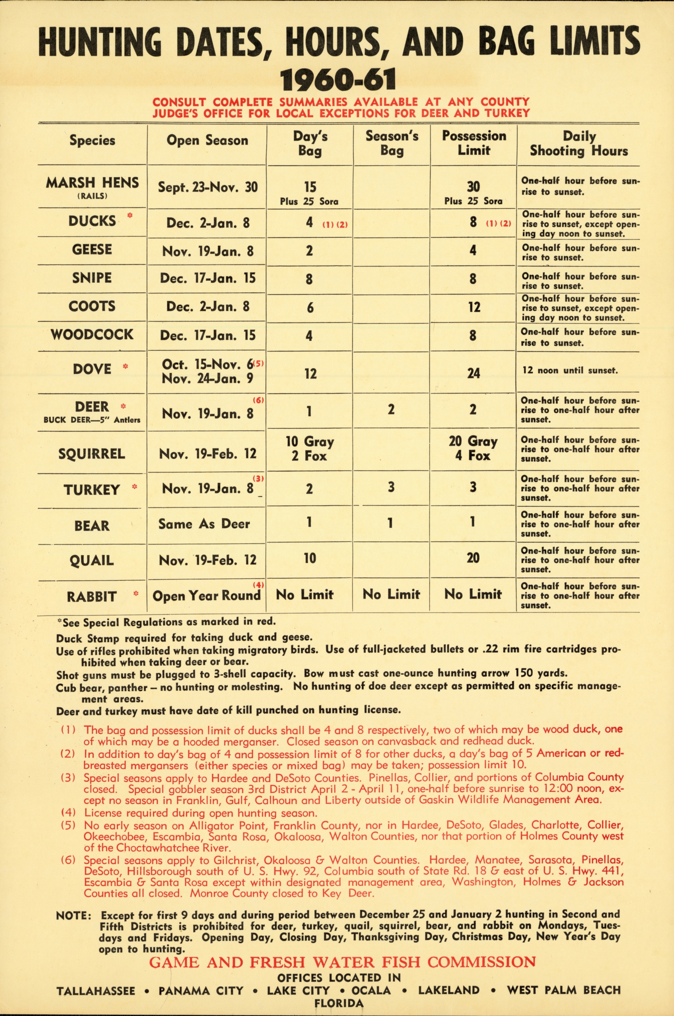 Florida hunting seasons and bag limits, 1960-61.
