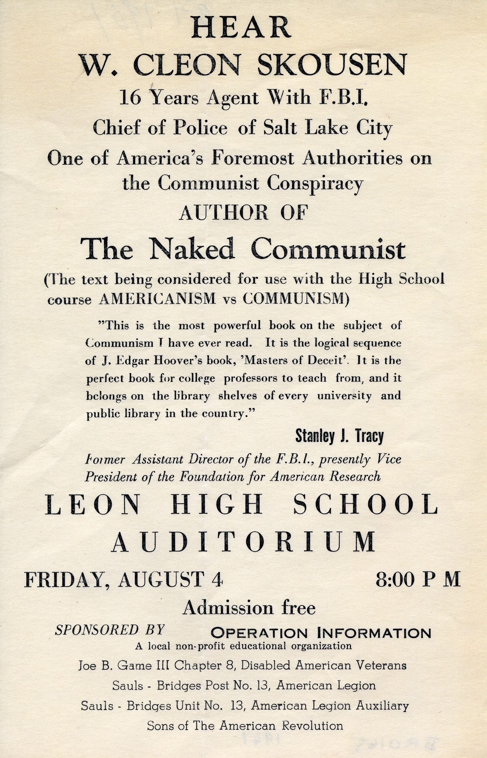 Hear W. Cleon Skousen, author of 'The Naked Communist'.