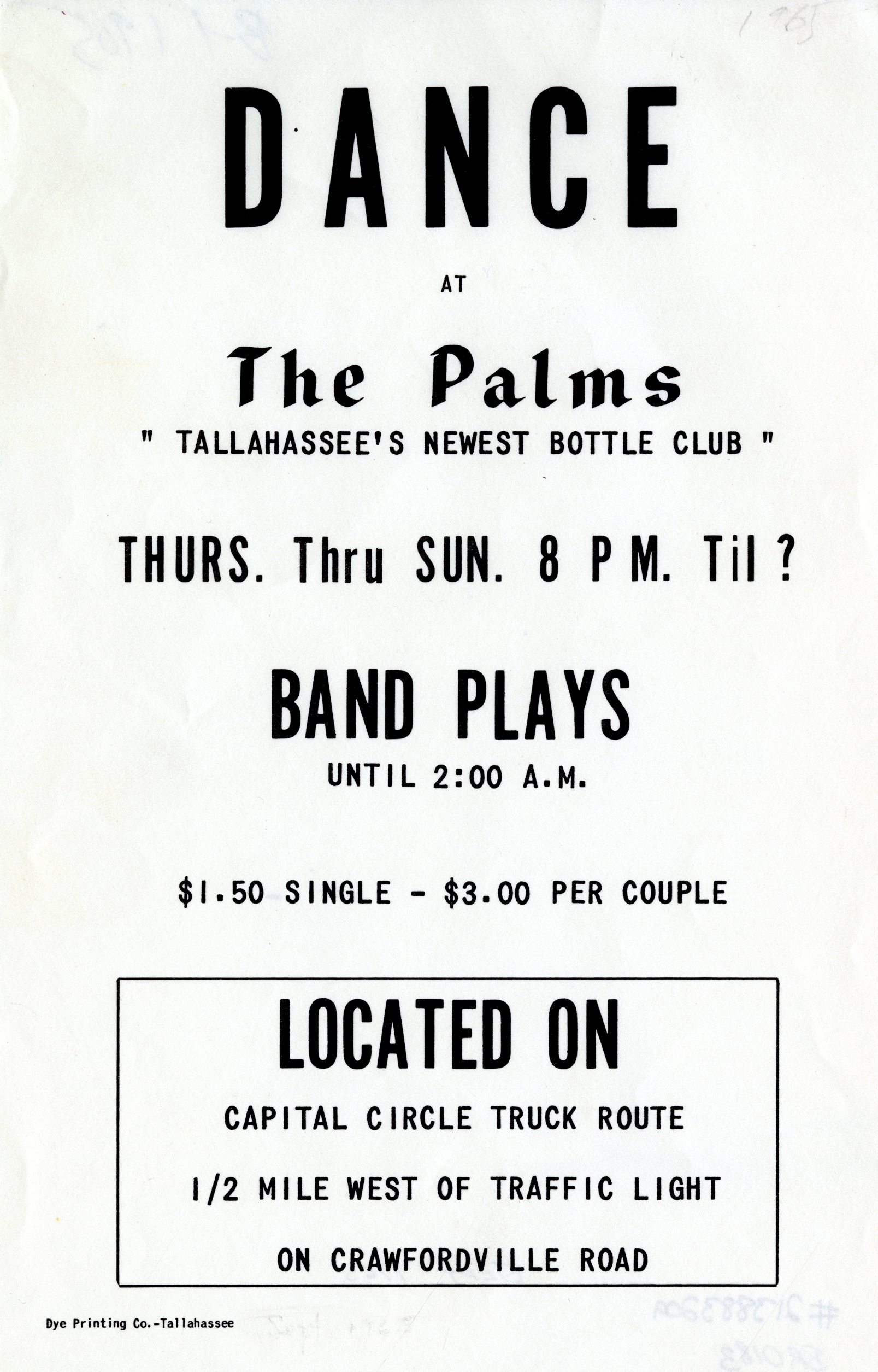Dance at The Palms, Tallahassee&#039;s newest bottle club.