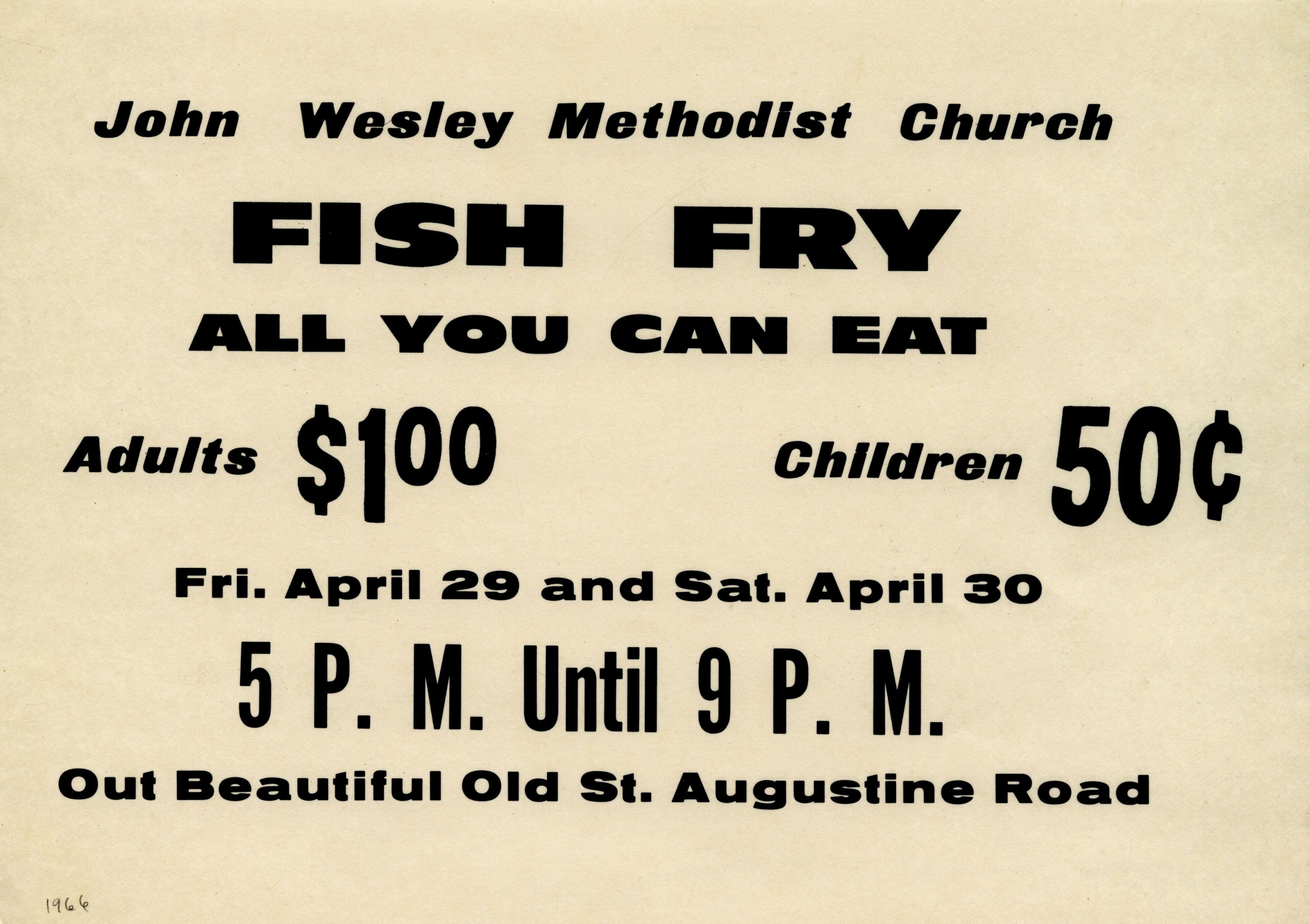 John Wesley Methodist Church fish fry.