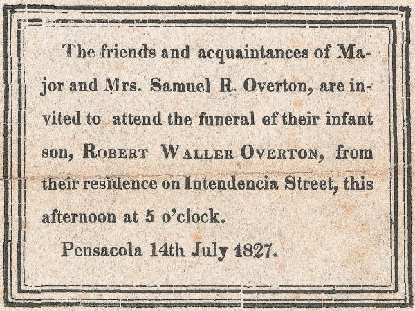 Funeral card, Pensacola 14th July 1827.