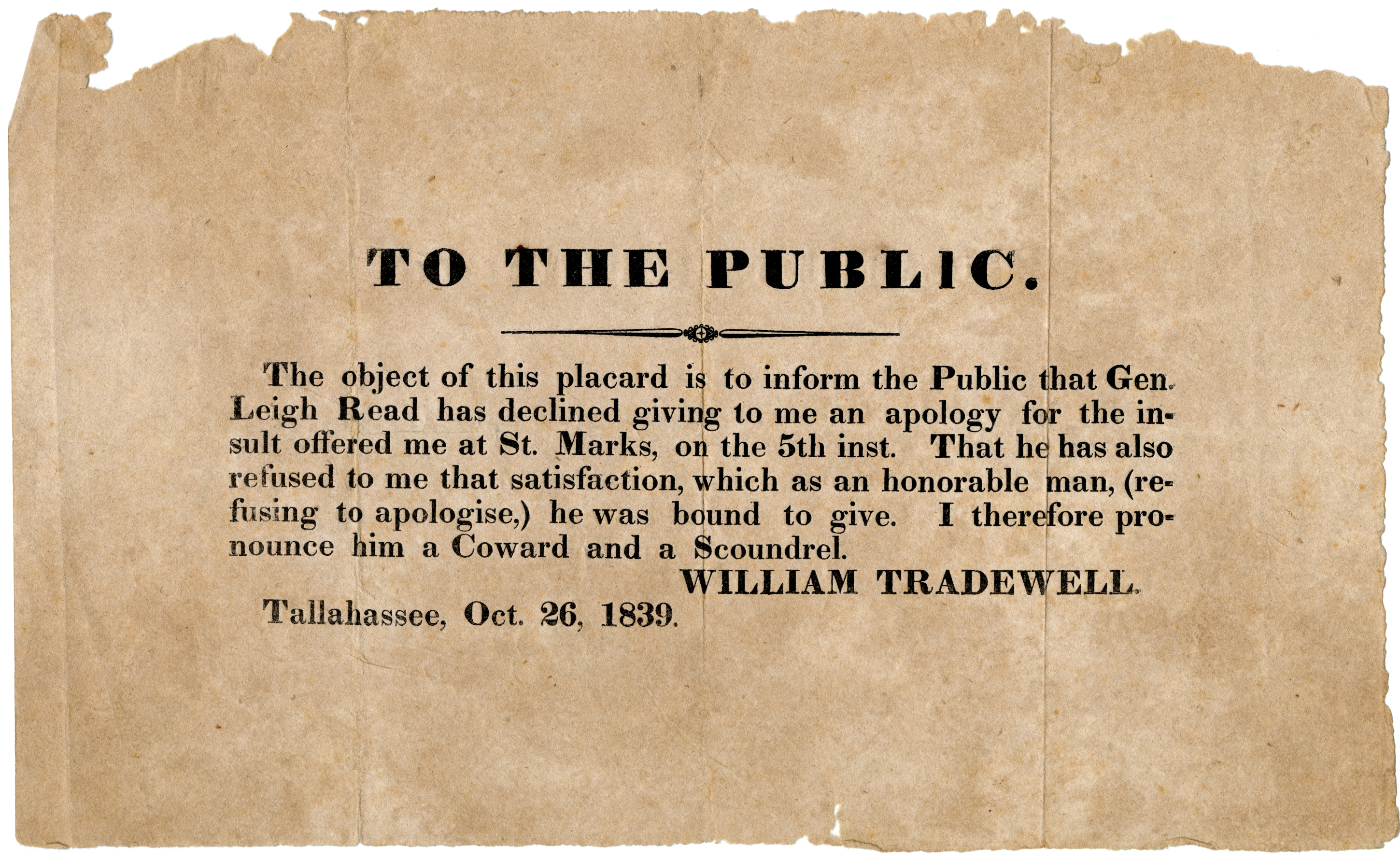 To the public ... William Tradewell. Tallahassee, Oct. 26, 1839.