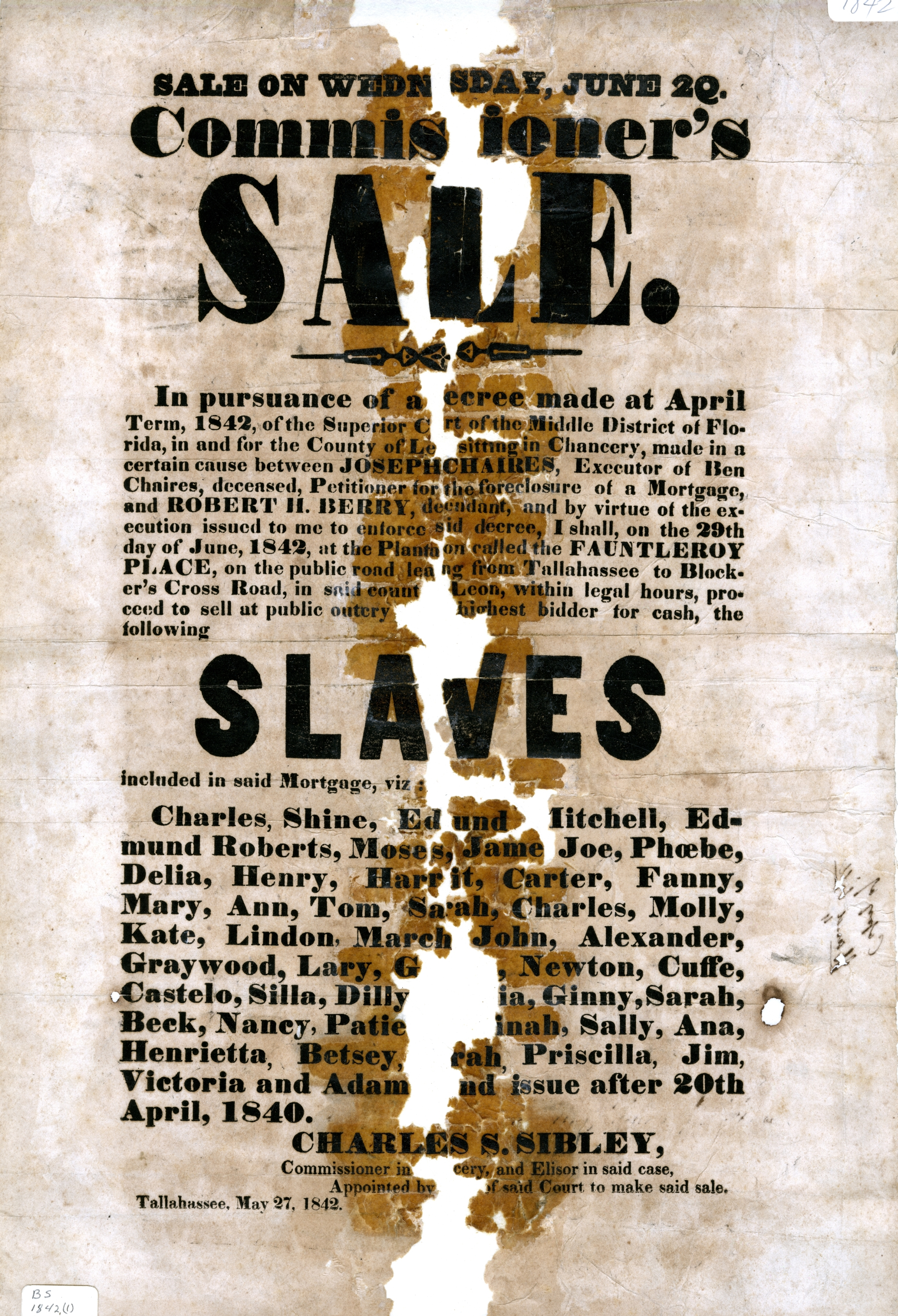 Commissioners' sale ... slaves, Tallahassee, May 27, 1842.