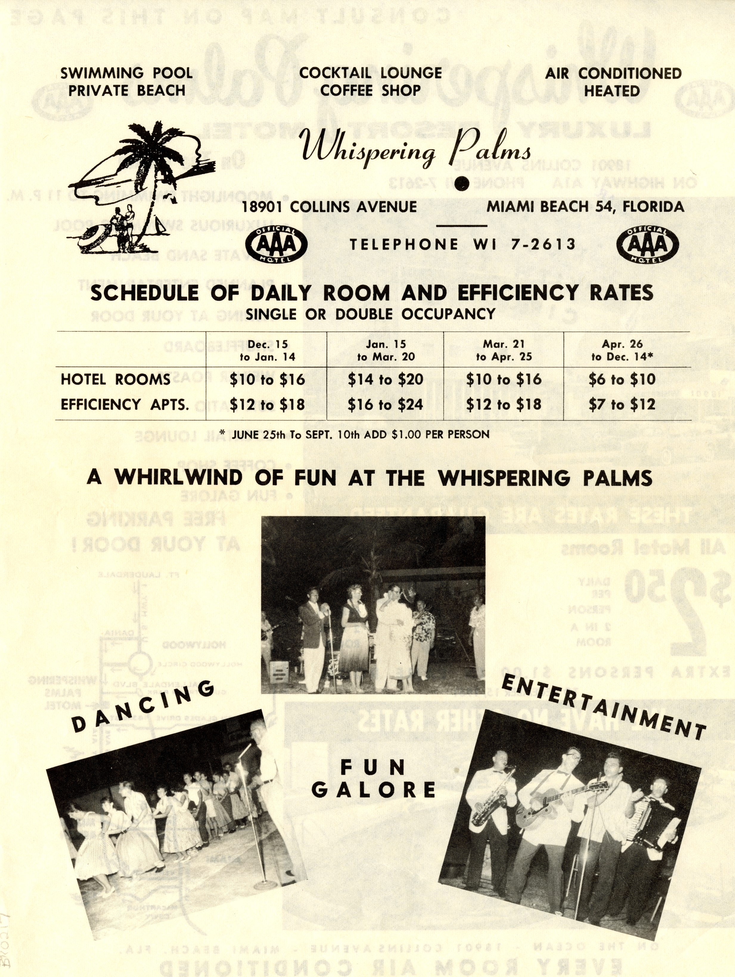 Whispering Palms Luxury Resort Motel, Miami Beach, Florida.