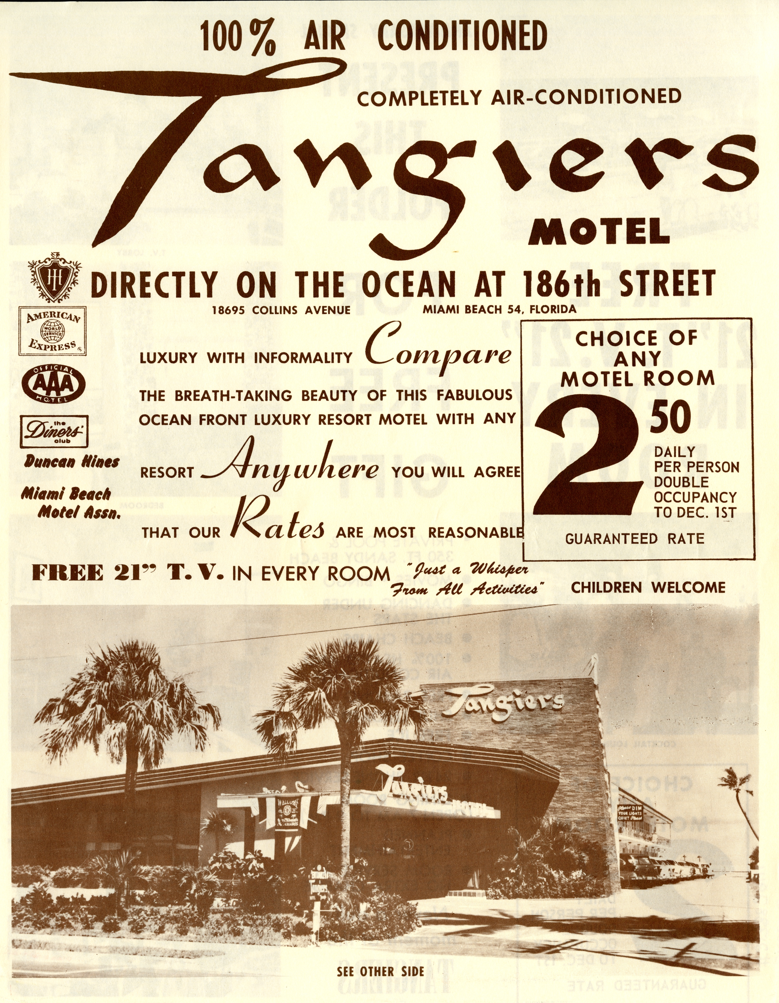 Tangiers Motel, Miami Beach, Florida.