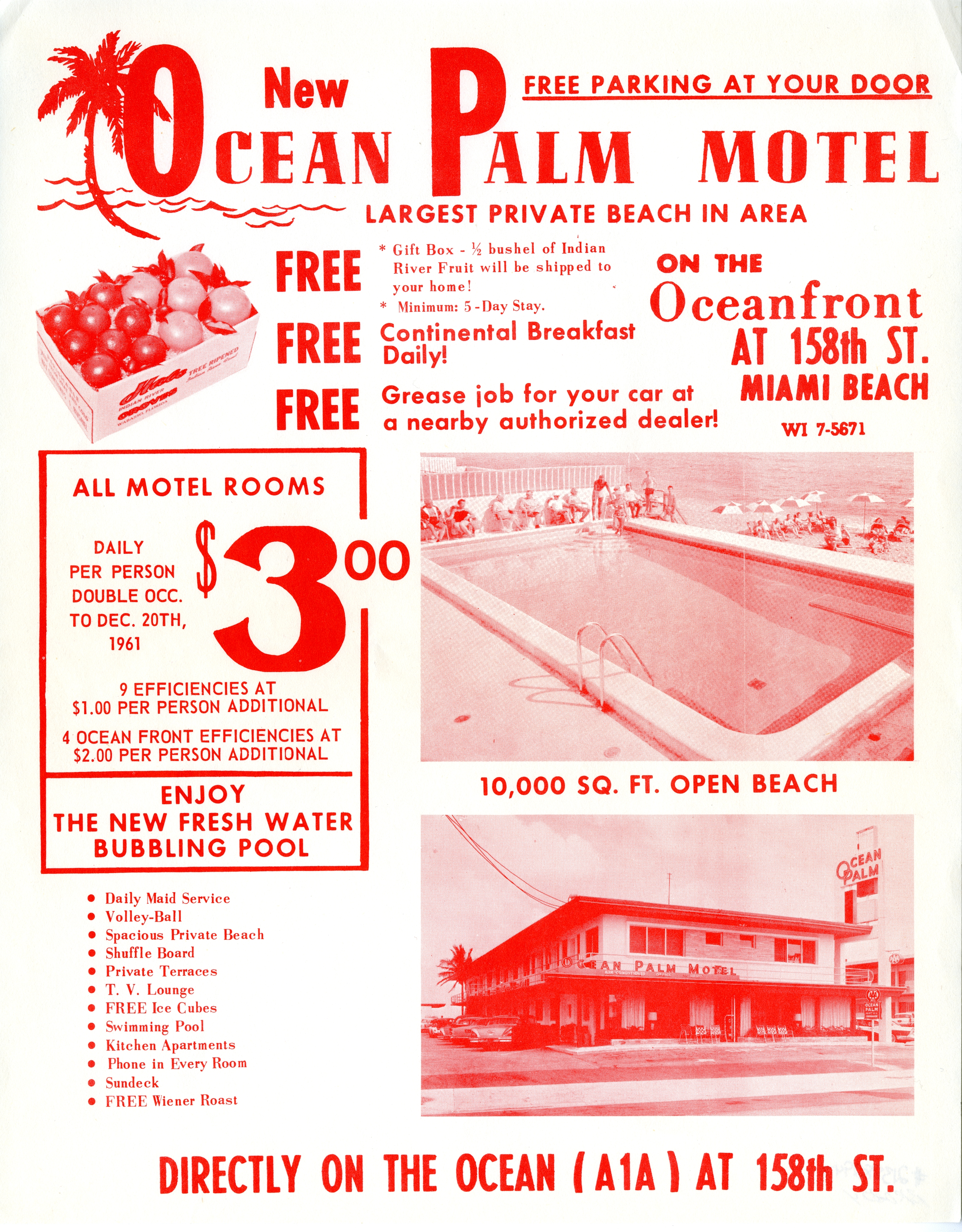 Ocean Palm Motel, Miami Beach, Florida.
