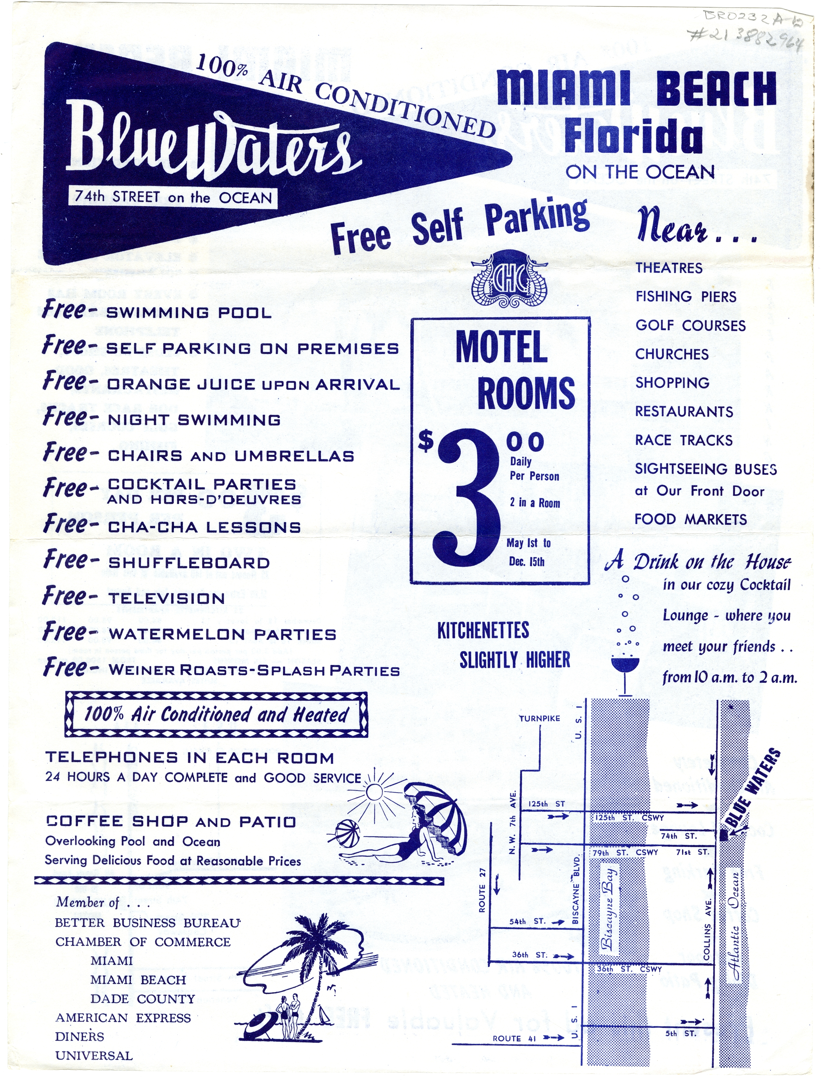 Blue Waters Hotel, Miami Beach, Florida.