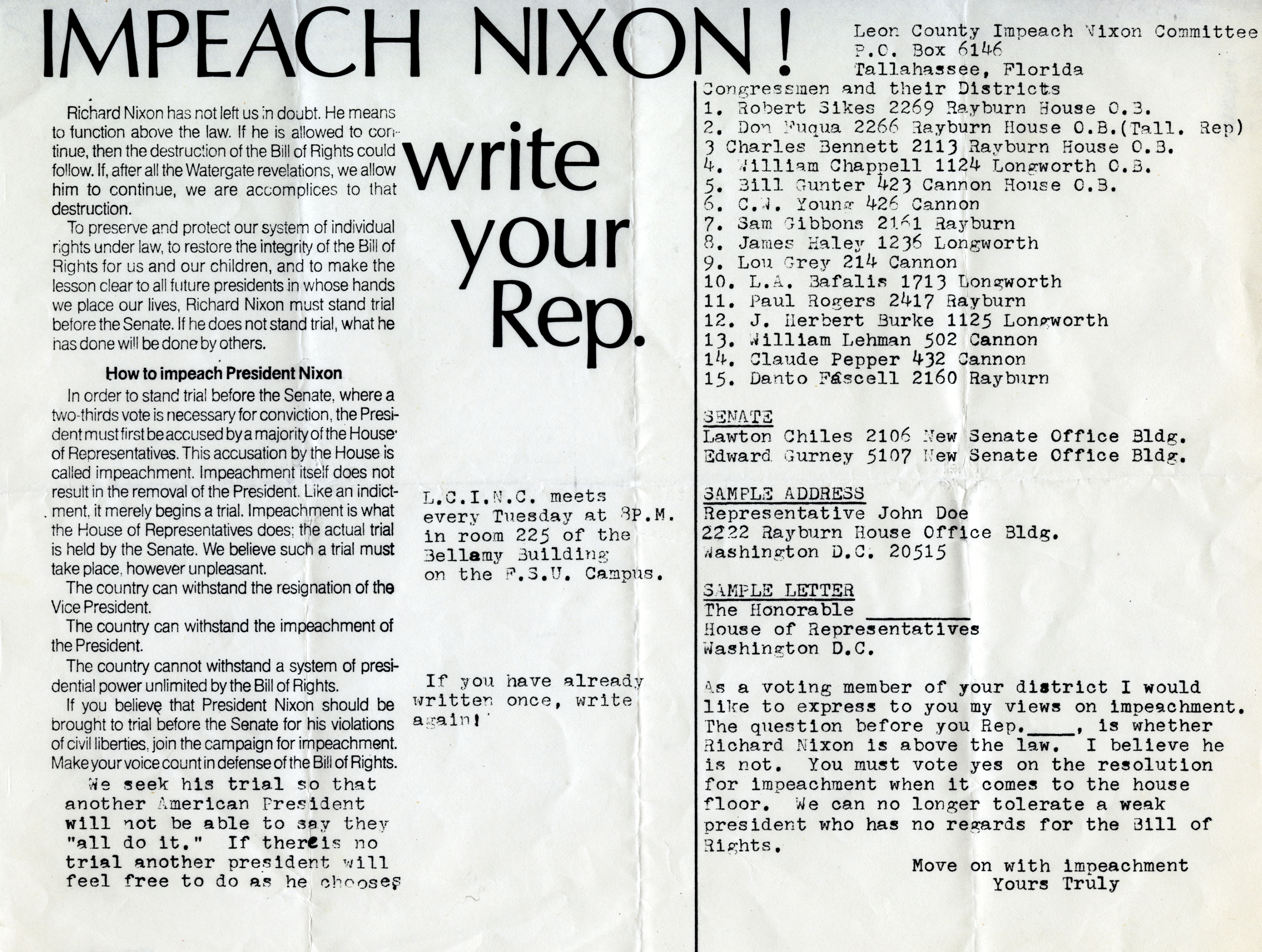 Impeach Nixon, write your Rep.